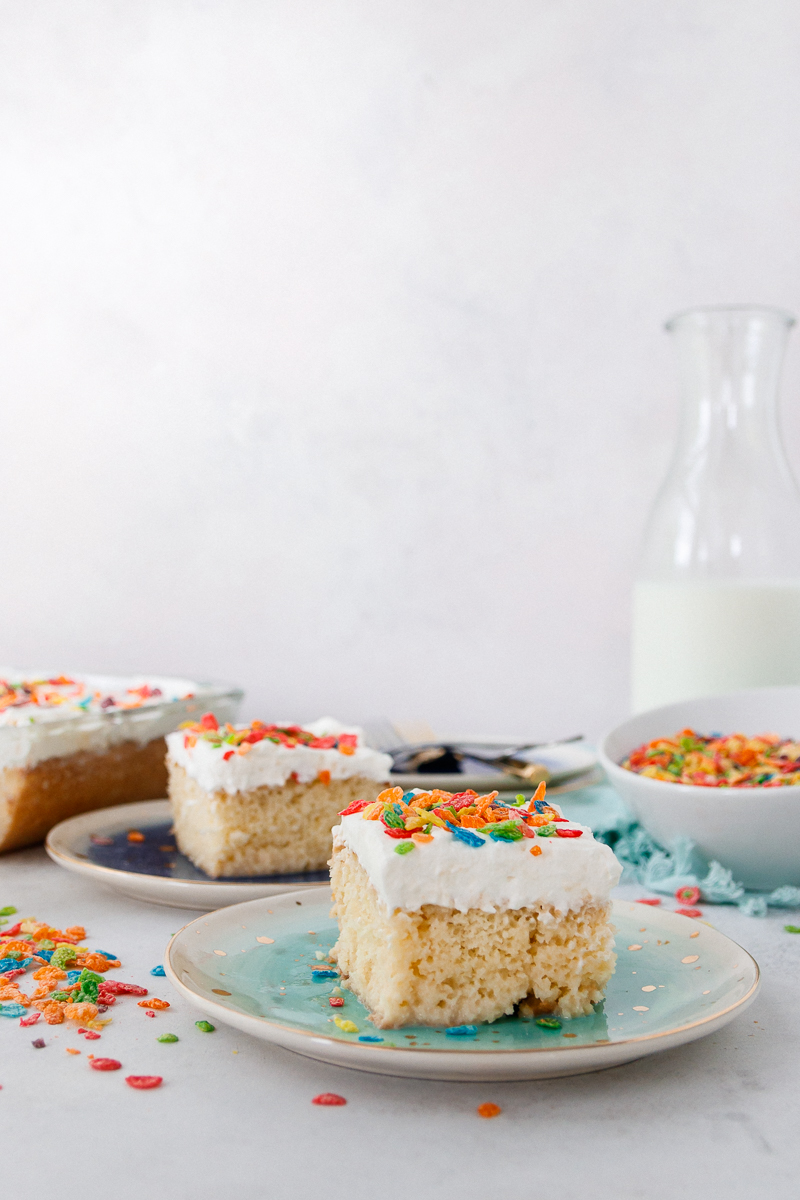 sliced cereal milk tres leches cake