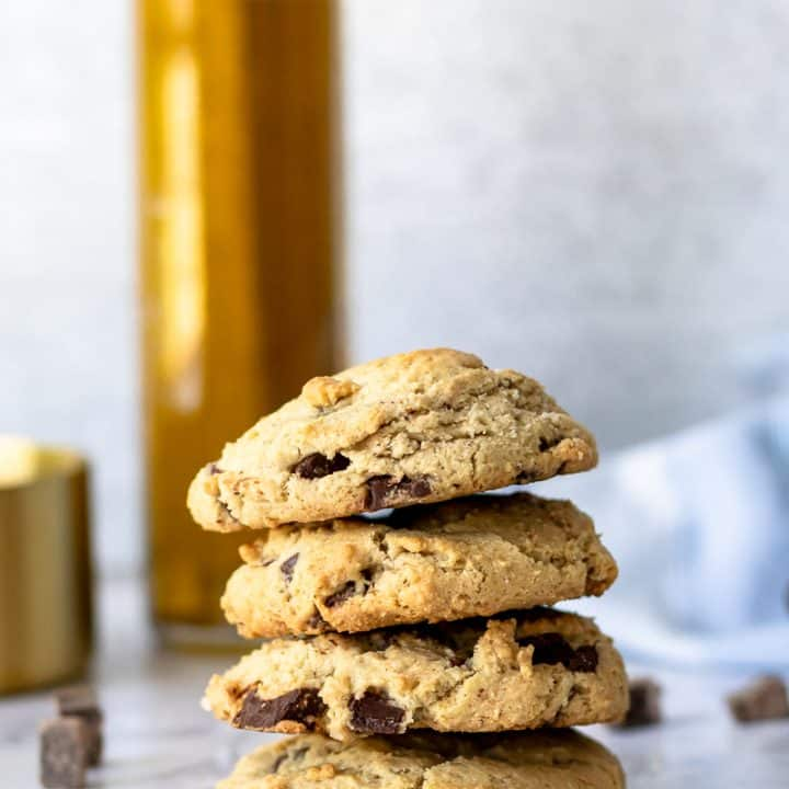 stacked olive oil chocolate chunk cookies