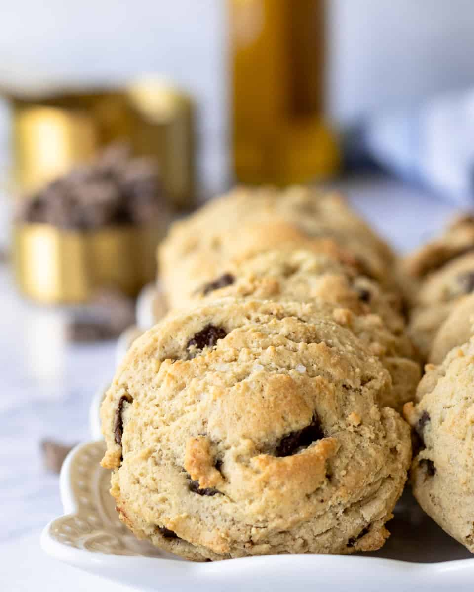 olive oil chocolate chunk cookies on a platter for serving