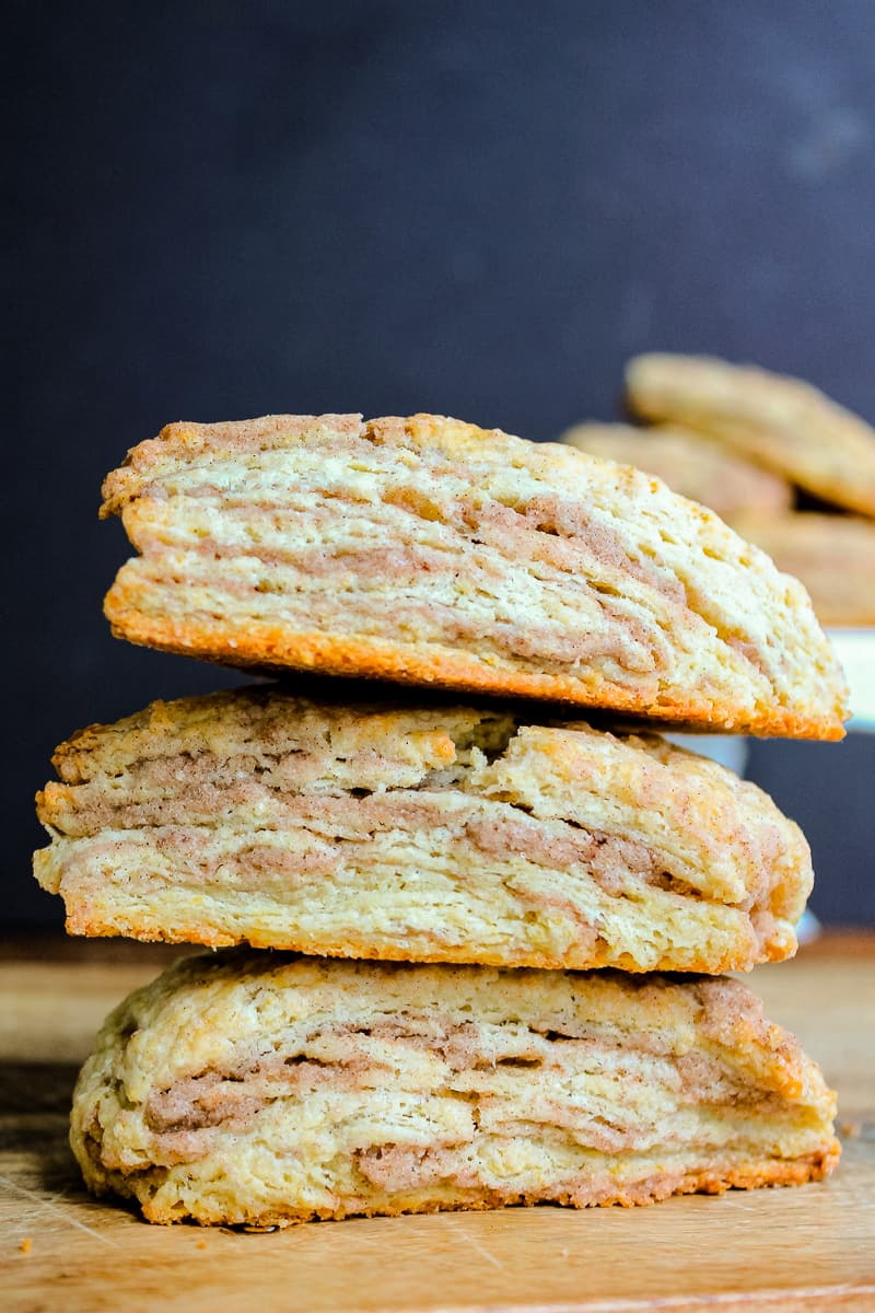 stacked cinnamon swirl scones side view