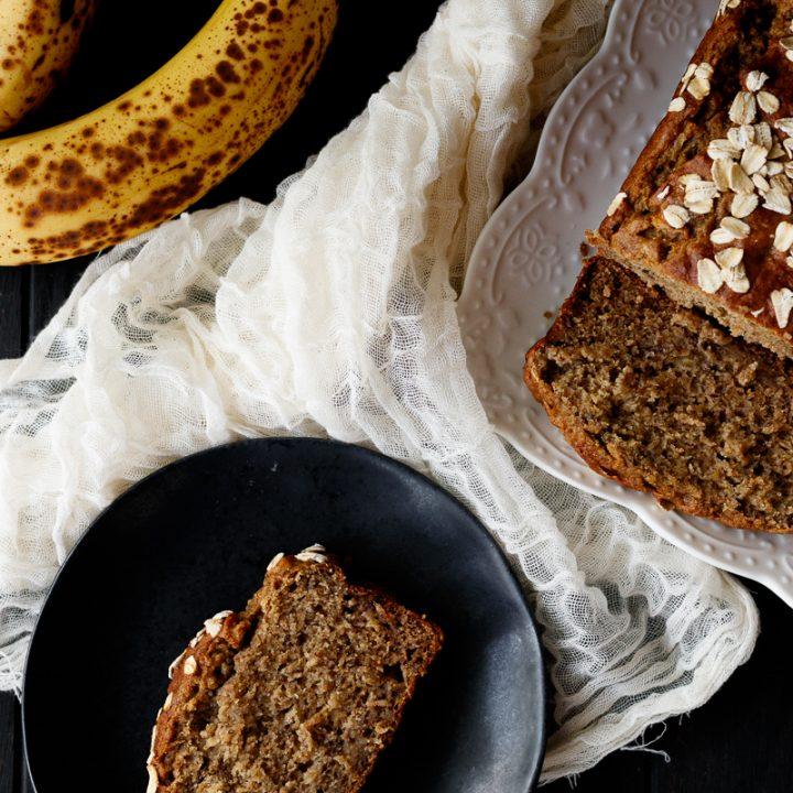banana bread flat lay photo