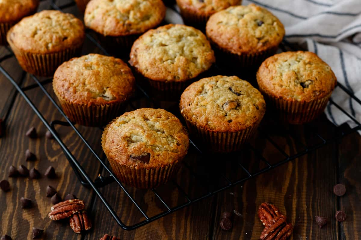 granny's banana muffins on a cooling rack