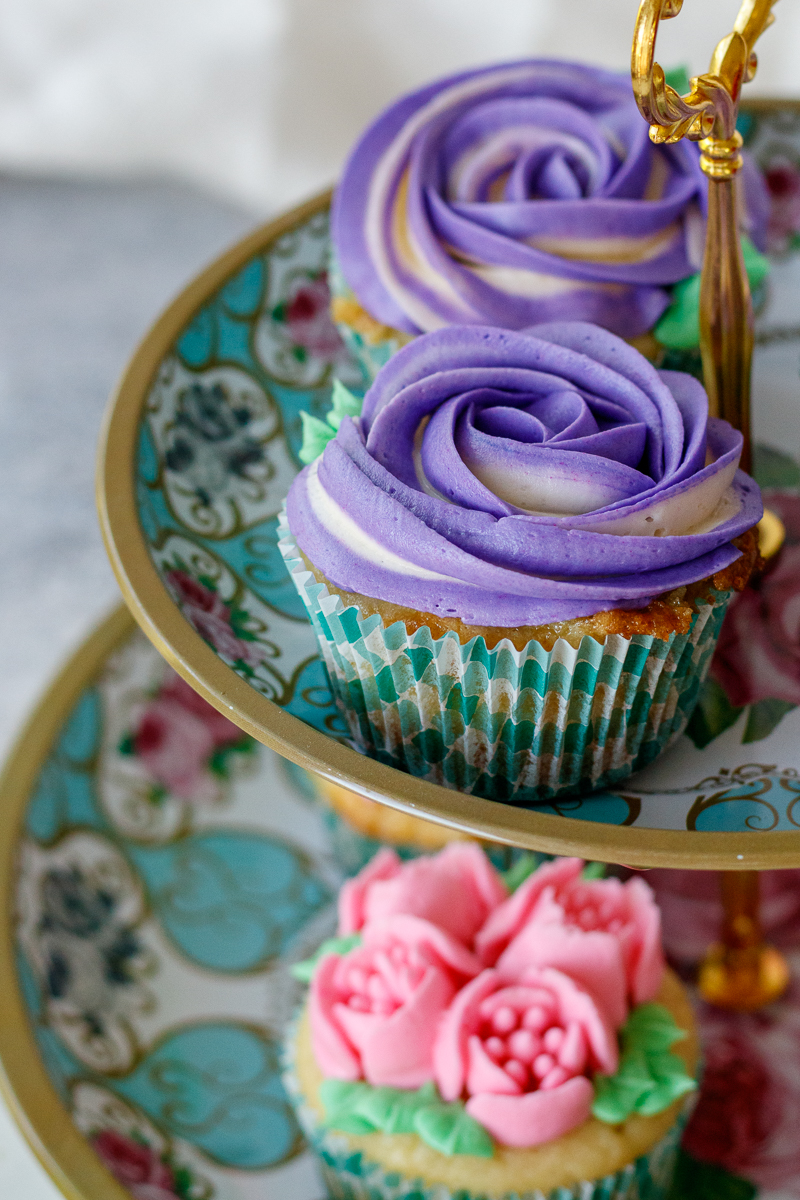 decorated vanilla cupcakes from scratch with american buttercream frosting