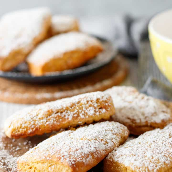 air fryer pumpkin beignets on a plate