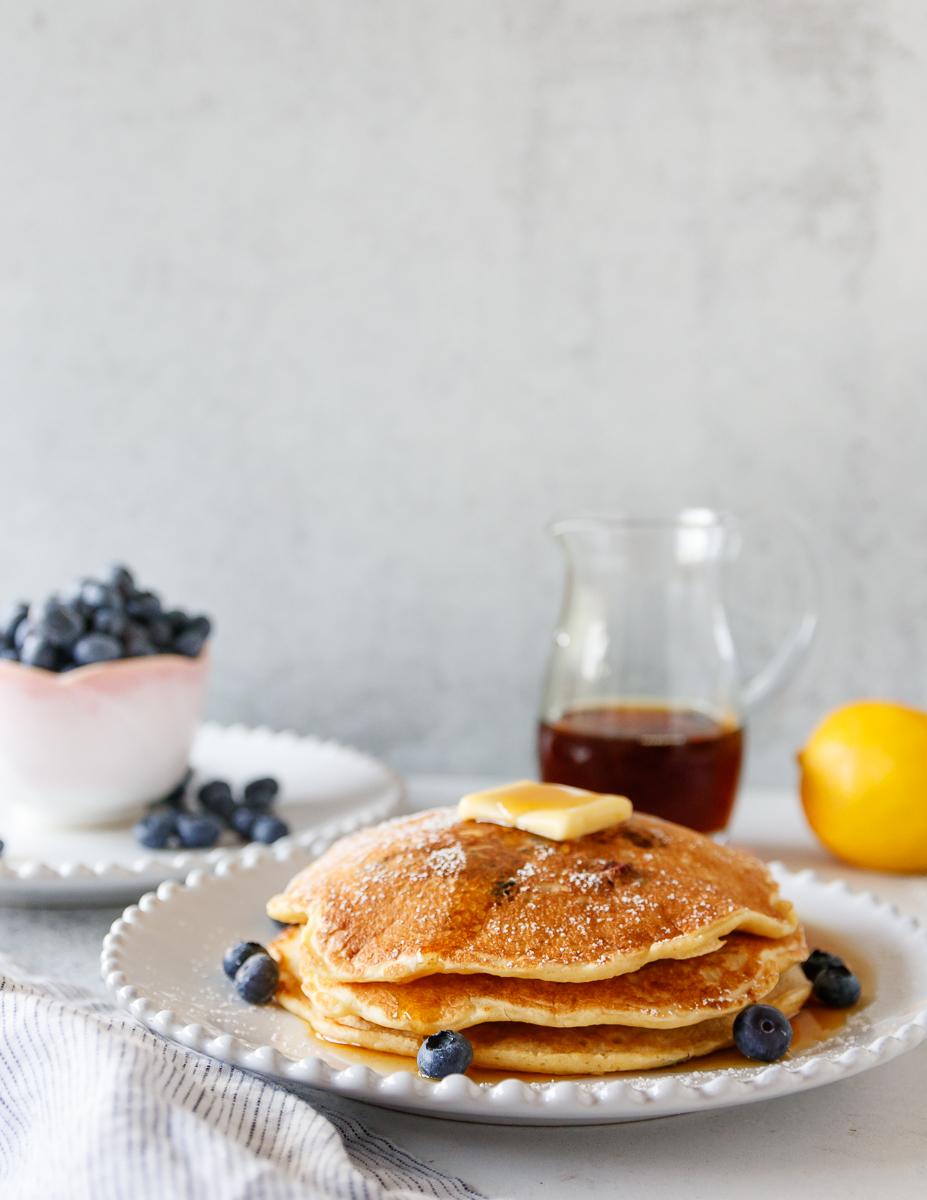 plated lemon blueberry pancakes