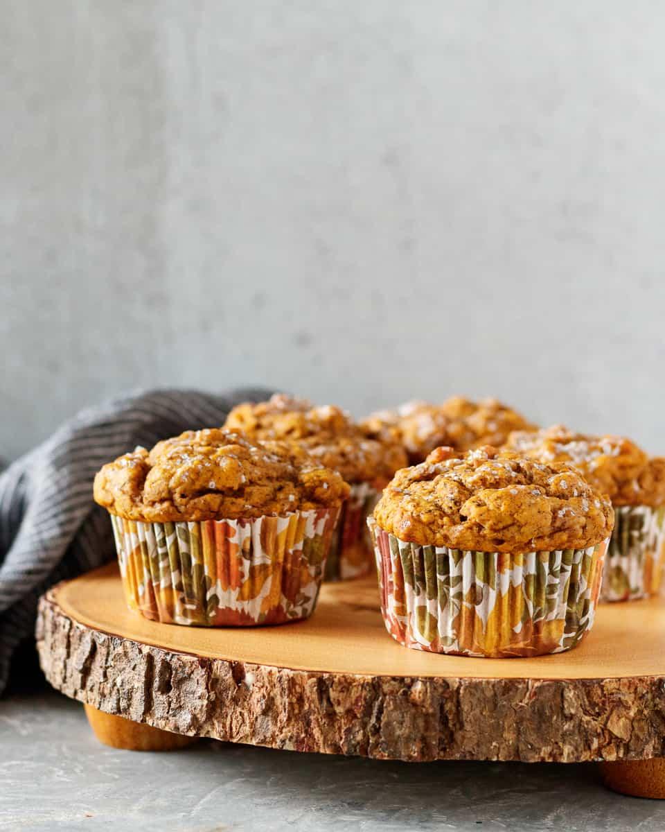small batch vegan pumpkin muffins on a cake platter