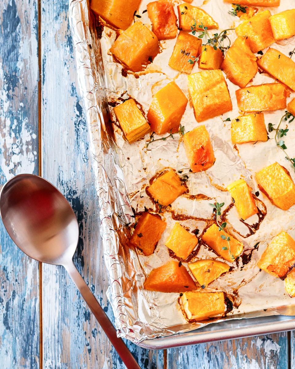 roasted butternut squash in baking pan