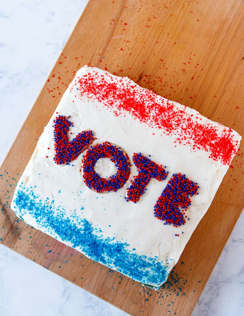 top view of the election snack cake to show the