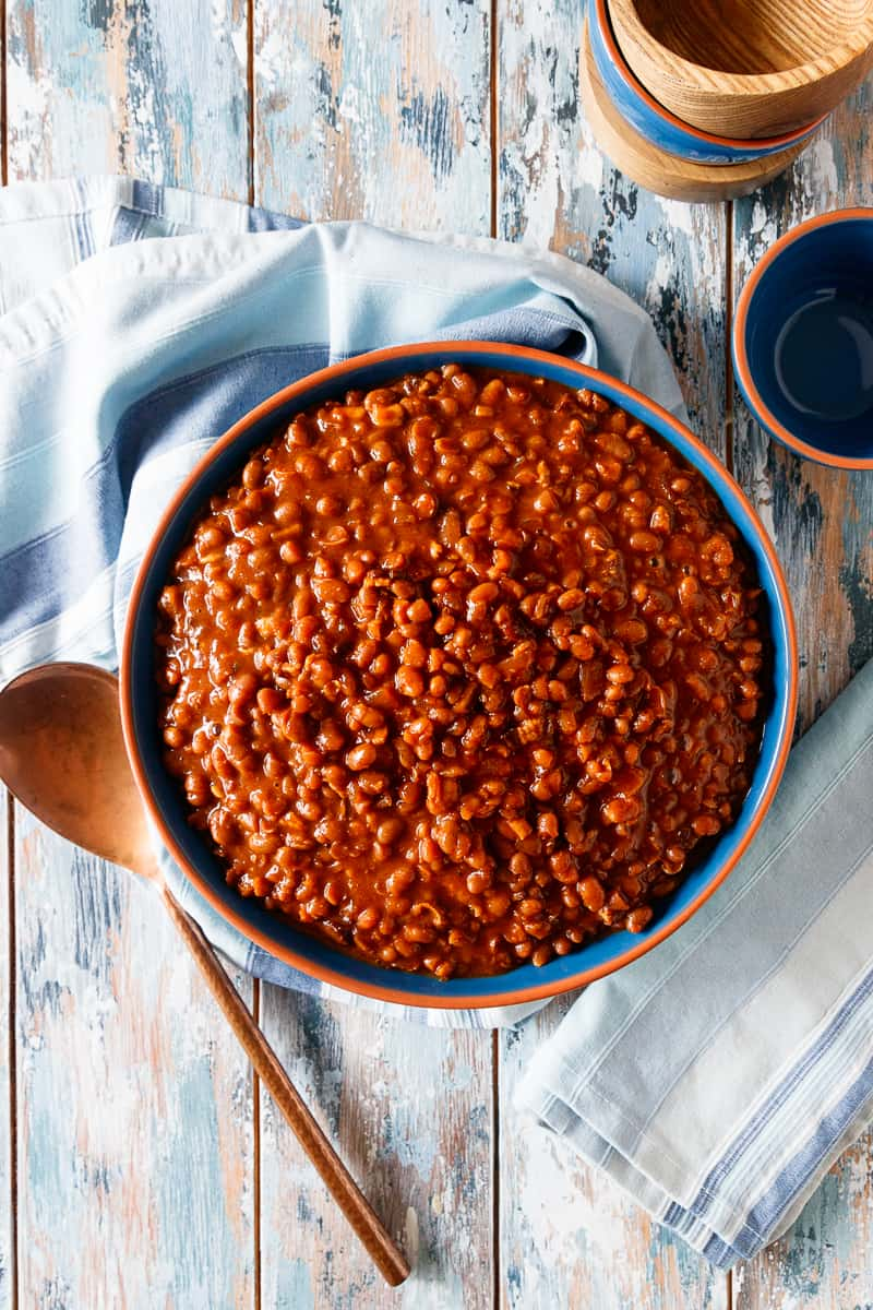 baked beans flatlay