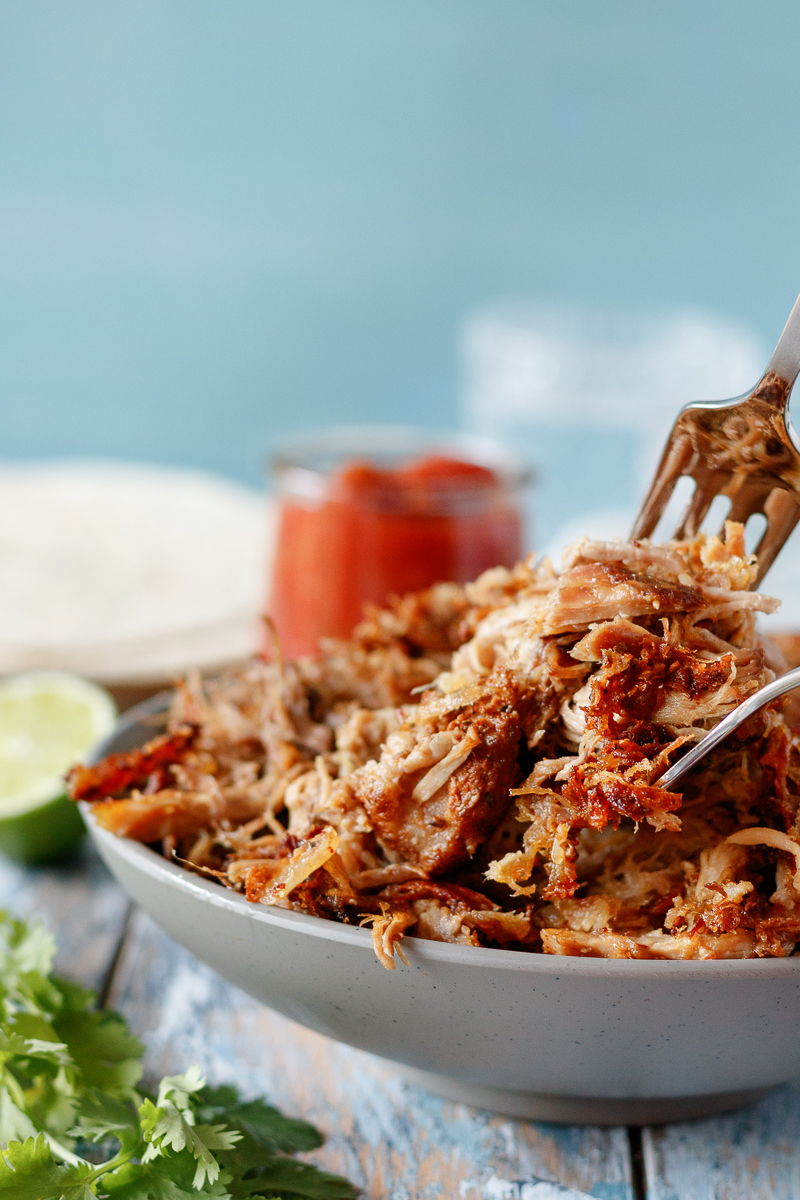 close up of the carnitas showing a mix of crispy edges and juicy pulled pork