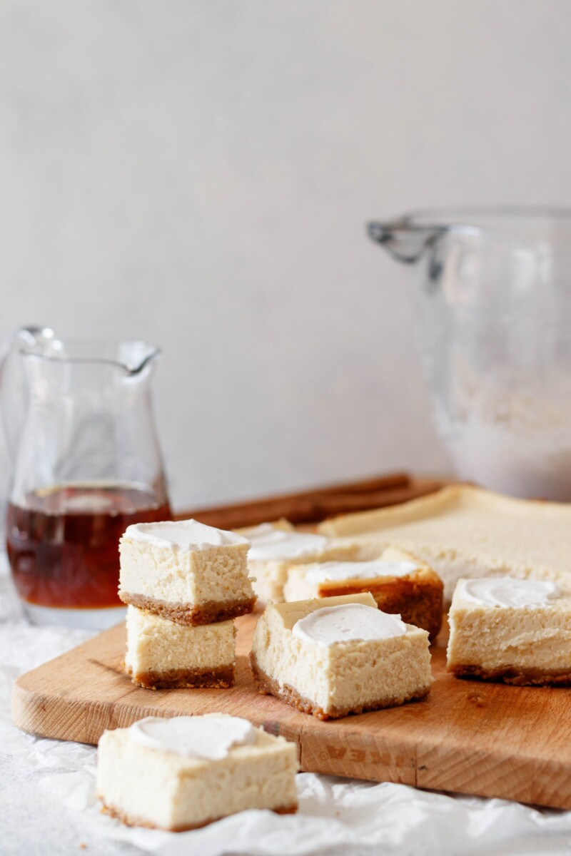 homemade cheesecake bars with real maple syrup