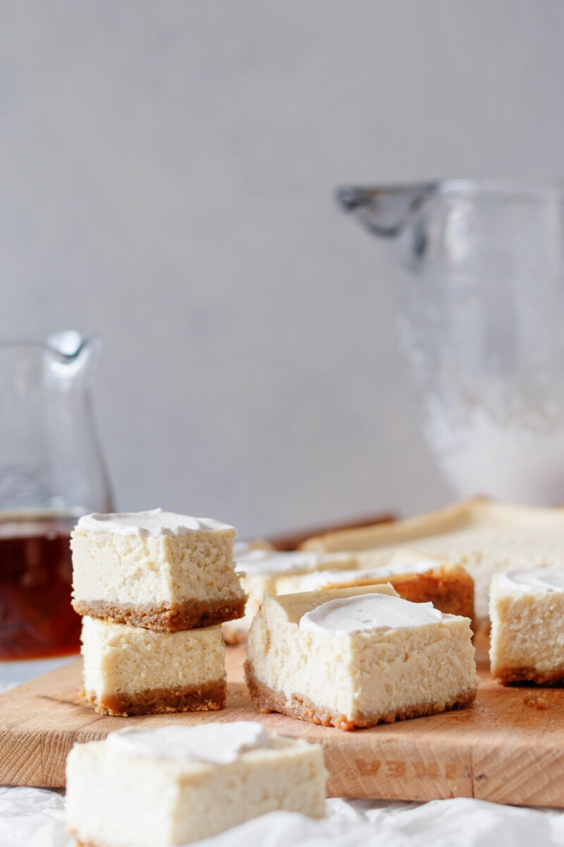 bars with a smear of cinnamon whipped cream to show a serving suggestion