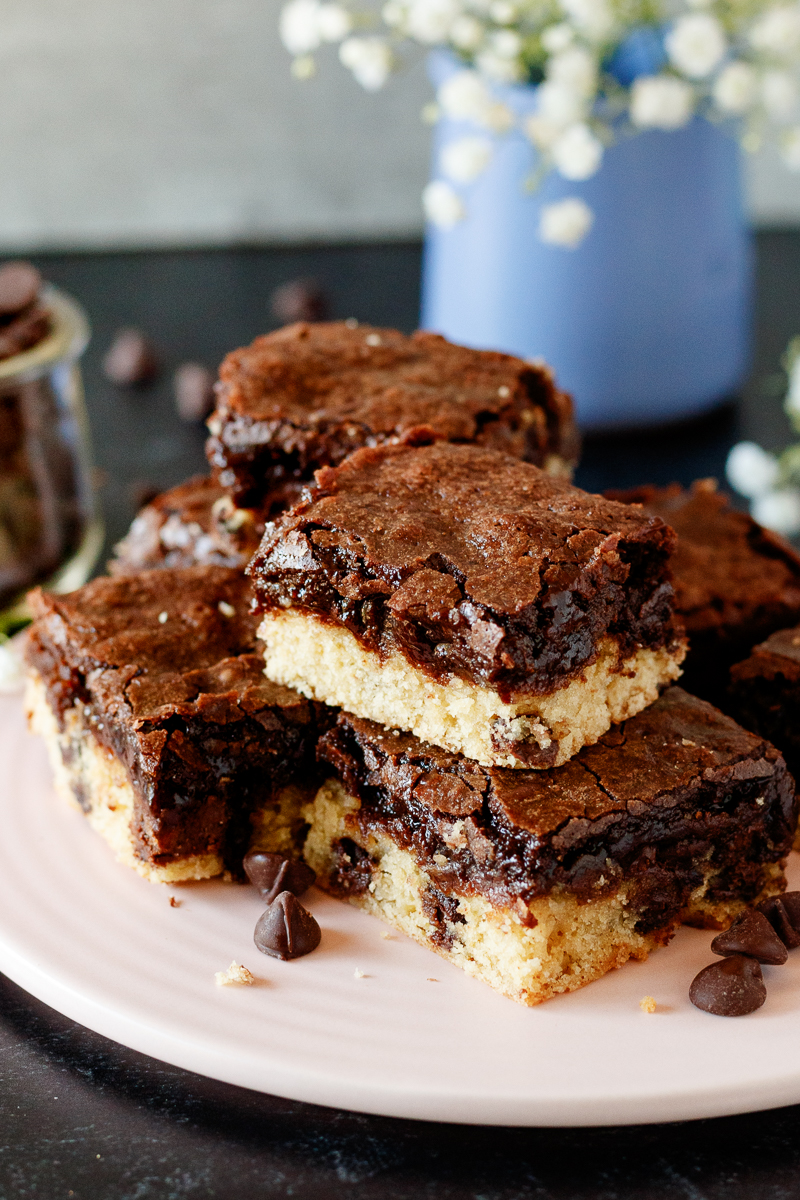 close up of the cookie bars to show the shiny texture on top of the brownies