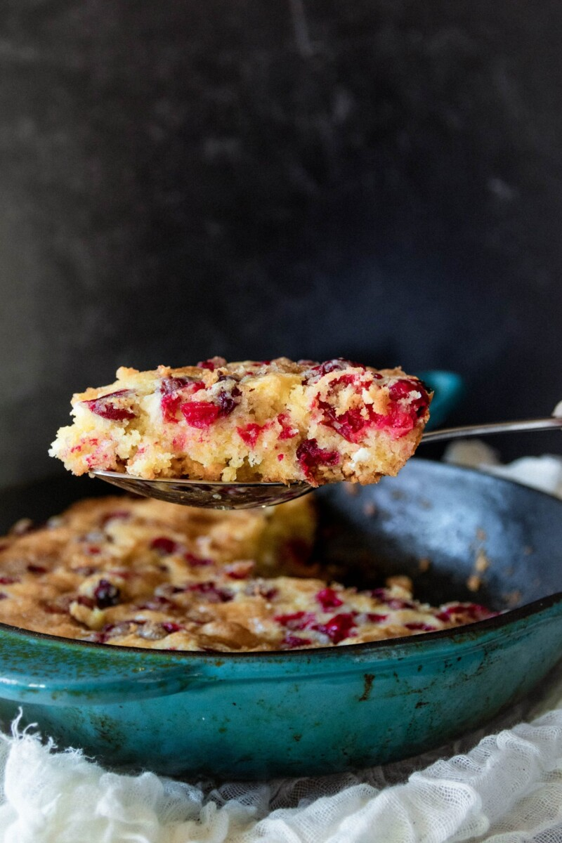 wedge of cranberry skillet cake closer to the camera to show texture