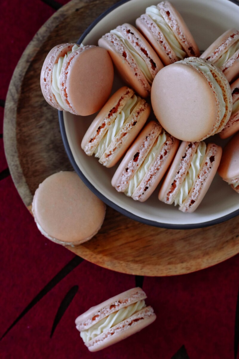 top view of the maple macarons on the serving plate