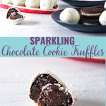 sparkling chocolate cookie truffles pin image
