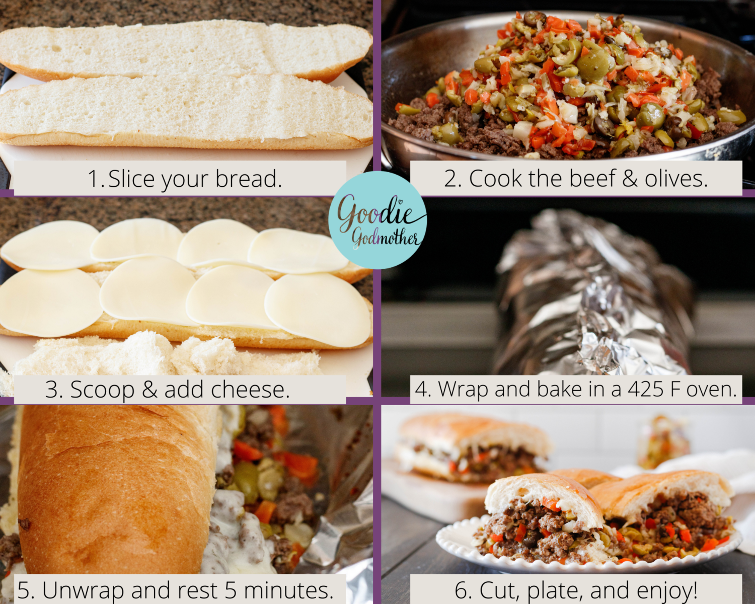 ground beef po' boy (aka the godfather sandwich) assembly infographic. Shows the 6 basic steps to building this delicious hot sub. 1. Slice the bread. 2. Cook your filling. 3. Scoop the loaf and add your cheese. 4. Wrap the filled sandwich in foil. 5. Bake until the cheese has melted. 6. Slice and enjoy!