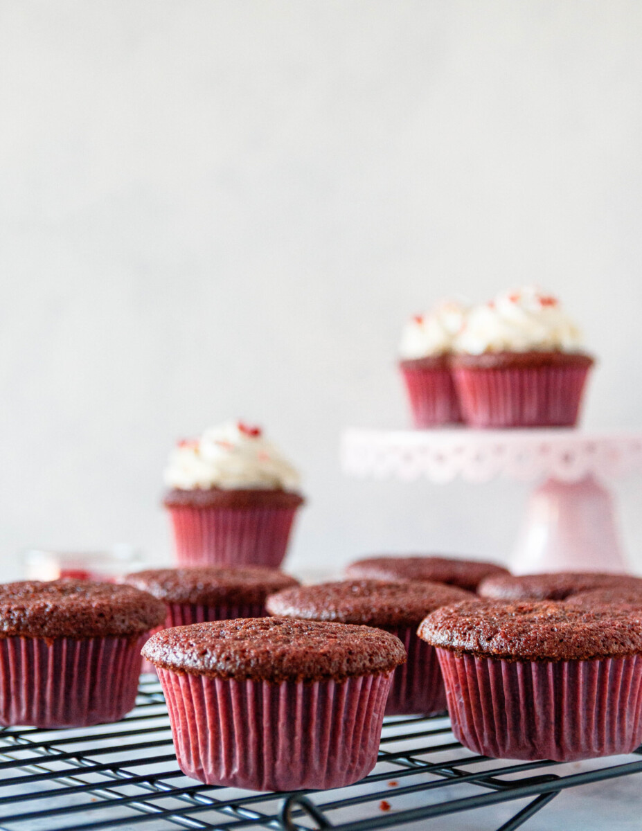 unfrosted red velvet cupcakes