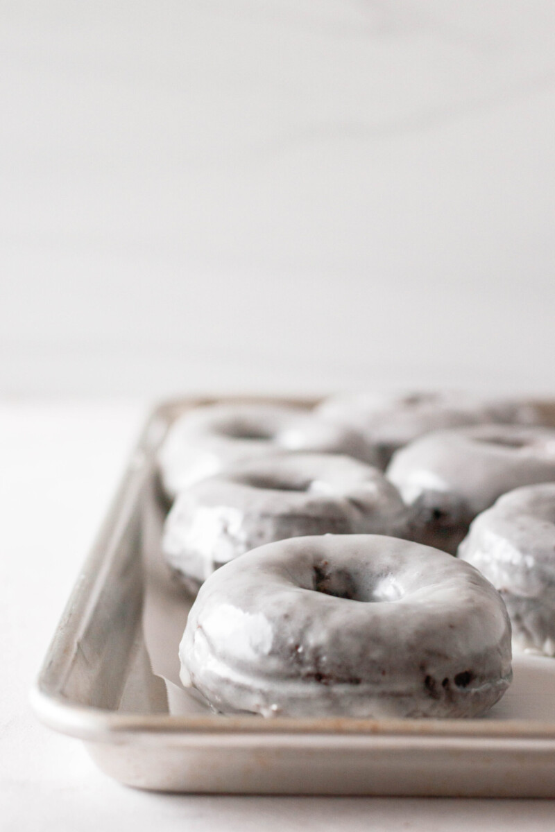 side view of the donuts to show how they puff and get fluffy after frying.