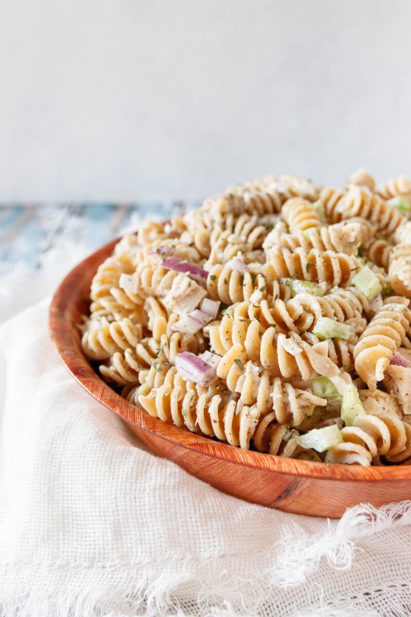 angled view of the pasta salad