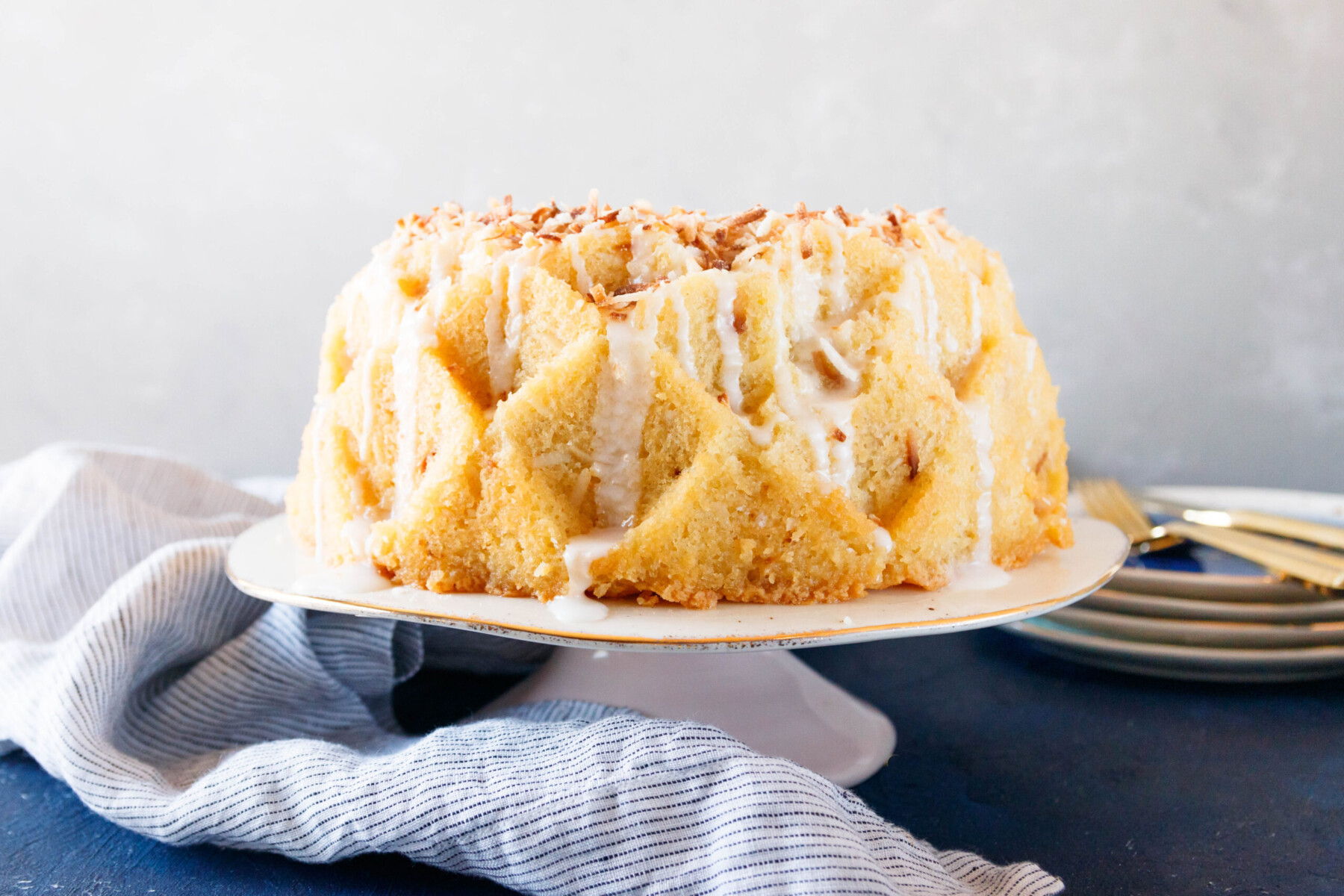 horizontal picture of a plated coconut rum cake