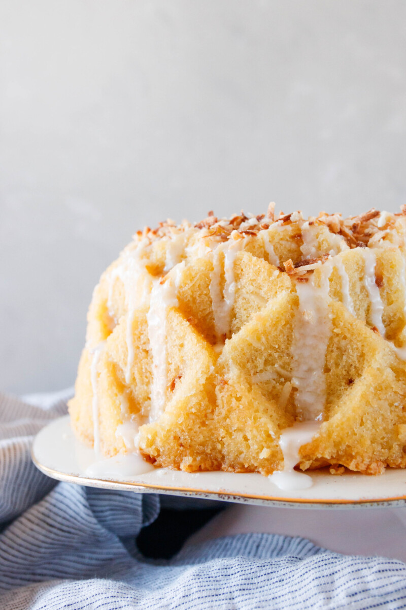 close up of the rum cake to show the crumb
