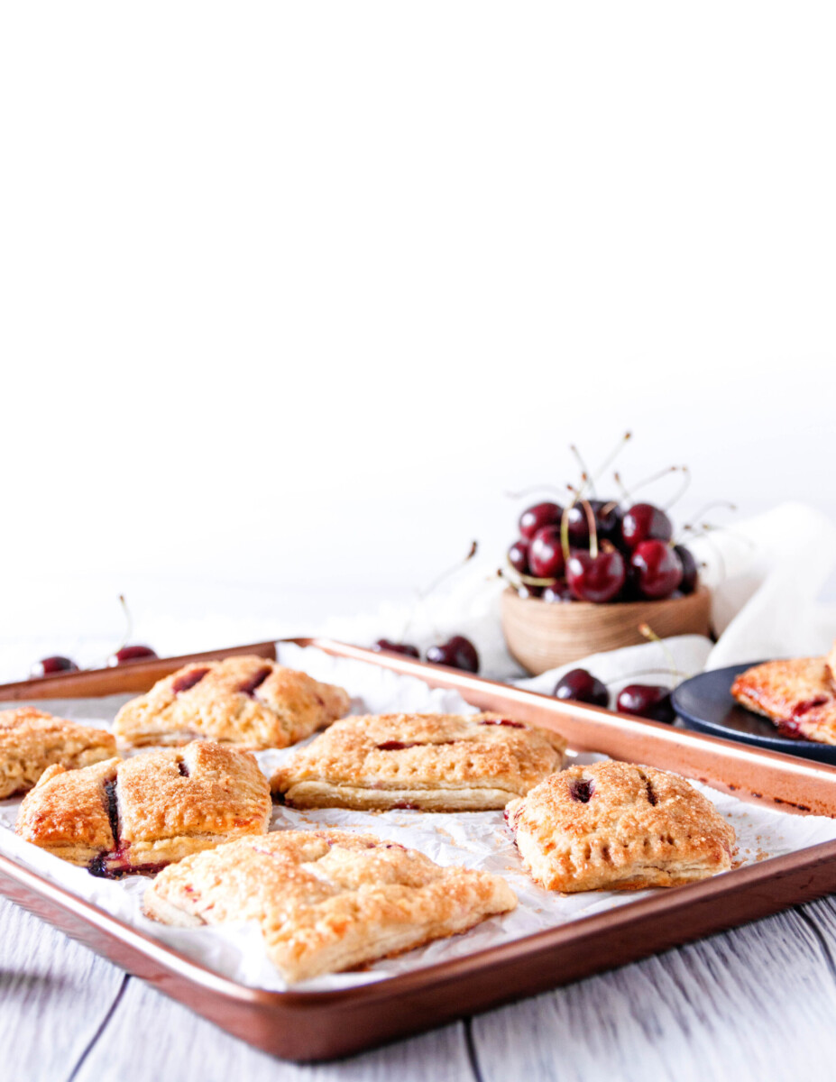 just-warm hand pies ready to grab and enjoy from the baking sheet