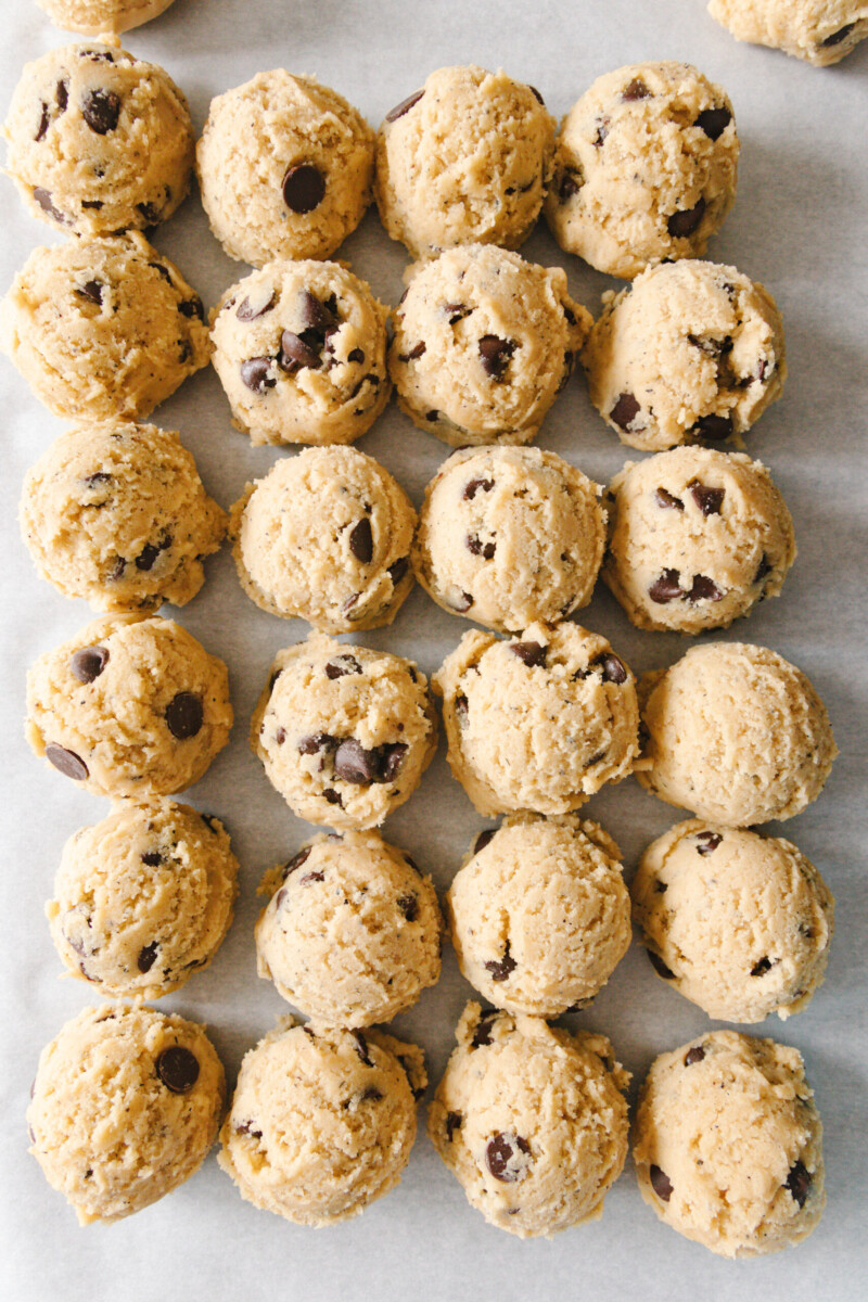 unbaked chai chocolate chip cookies on a baking sheet