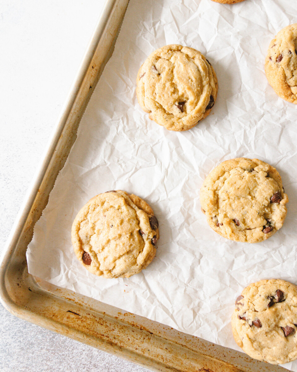 top view of the cookies on a baking sheet
