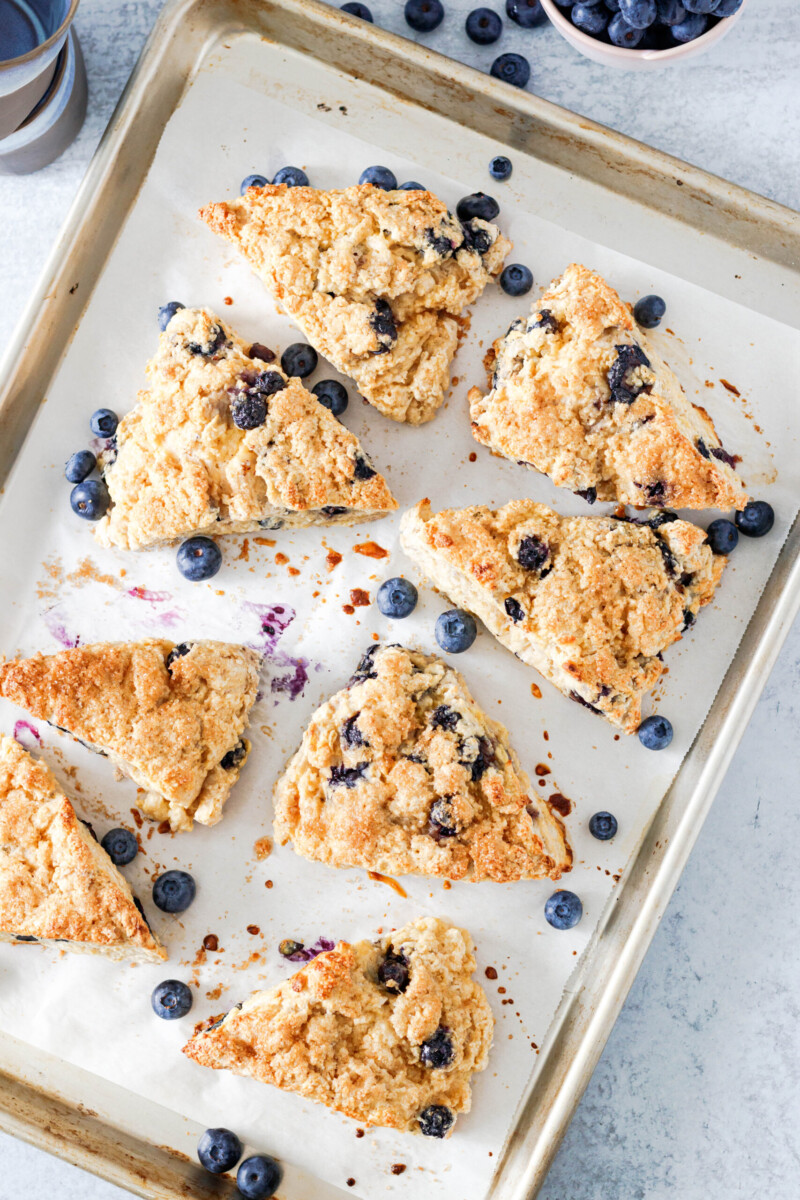 Top view of the baked scones on a light aluminum rimmed baking sheet with scattered blueberries